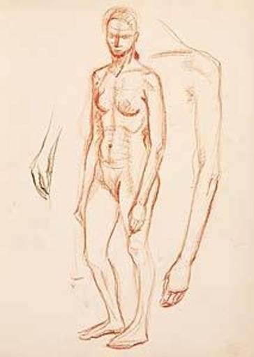 Joseph FLOCH - Dibujo Acuarela - Akt