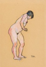 Robin Christian ANDERSEN - Dibujo Acuarela - Gebückt stehender Akt