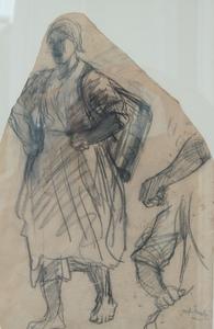 Jozef ISRAELS - Drawing-Watercolor - vissersmeisje