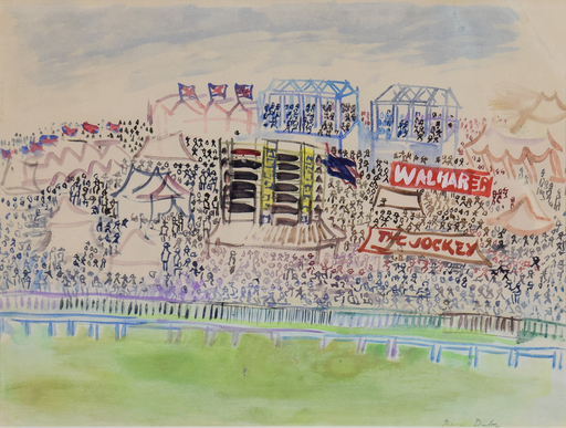 Raoul DUFY - Drawing-Watercolor - Le Champ de Courses à Epsom