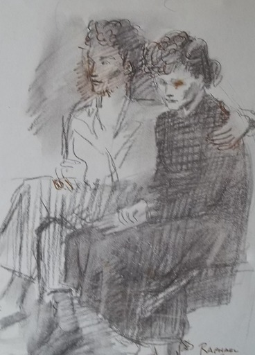Raphael SOYER - Drawing-Watercolor - couple