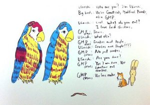 Atsushi KAGA - Estampe-Multiple - 2 Geneteically modified parrots