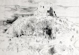 "Jean-Gaston MANTEL - Drawing-Watercolor - ""Paysage marocain du moyen Atlas vers Sefrou"""