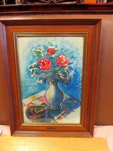 Will KÜPPER - Drawing-Watercolor - Rote Blumen in blauer Vase