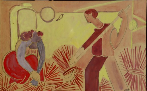 "Marcel BURTIN - Drawing-Watercolor - ""LES MOISSONNEURS/LES MARINS"""