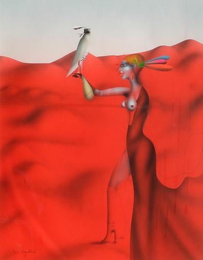 Paul WUNDERLICH - Dibujo Acuarela - Falknerin