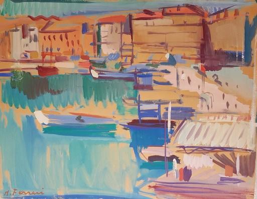 Antoine FERRARI - Zeichnung Aquarell -  Le port de Marseille