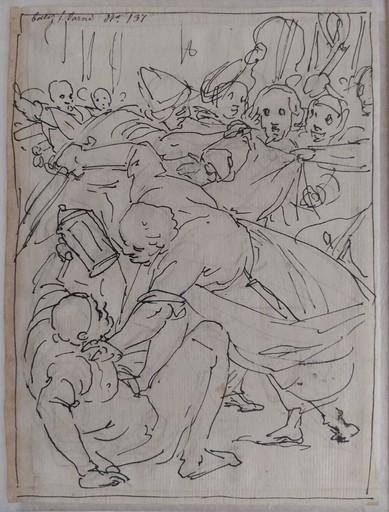 Giovanni Battista PAGGI - Dessin-Aquarelle - La cattura di Cristo, Pietro e Malco