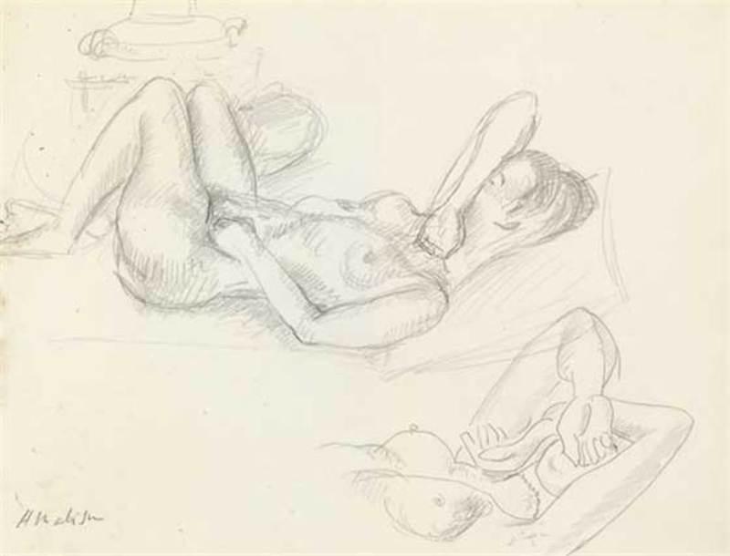 Henri MATISSE - Drawing-Watercolor - Nu,Visage couvert