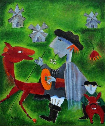 Danielle LE BRICQUIR - Painting - Don Quichotte