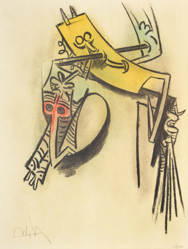 "Wifredo LAM - Stampa Multiplo - Wifredo Lam ""Monte de Seves"" Lithograph, Signed Ed."