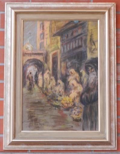 Julius FLACHE - Dibujo Acuarela - Market in oriente