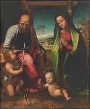 Mariotto ALBERTINELLI - Pintura - Sainte famille et le jeune St-Baptiste