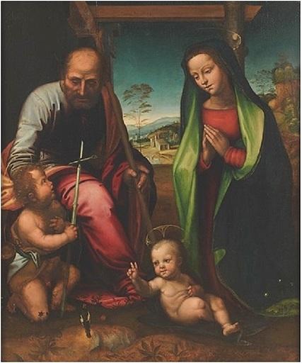 Mariotto ALBERTINELLI - Gemälde - Sainte famille et le jeune St-Baptiste