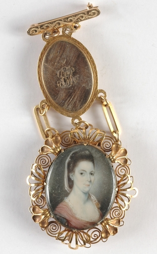 """Jeremiah MEYER - Zeichnung Aquarell - """"Gold chatelaine with portrait miniature"""", ca 1778"""