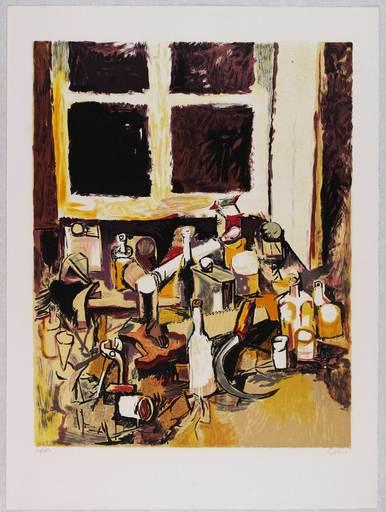 Renato GUTTUSO - Estampe-Multiple - Oggetti sul tavolo e finestra di sera