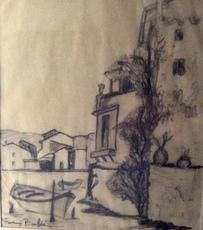 Francis PICABIA - Dibujo Acuarela - vue de Martigues
