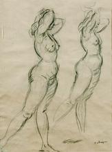 Henri Baptiste LEBASQUE - Drawing-Watercolor - Two Nudes