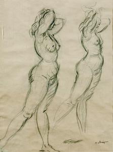 Henri Baptiste LEBASQUE - Dibujo Acuarela - Two Nudes