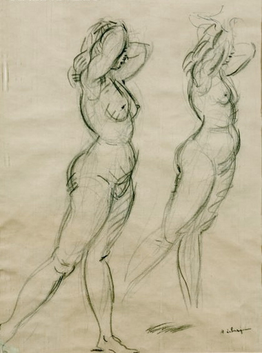 Henri Baptiste LEBASQUE - Zeichnung Aquarell - Two Nudes