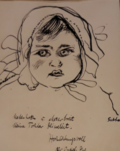 Shalom Siegfried SEBBA - Drawing-Watercolor - Head of a Girl/The artist's Daughter, circa 1920