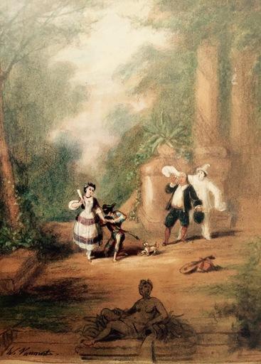 Édouard VAUMORT - Dessin-Aquarelle - Pierrot arlequin et colombiner
