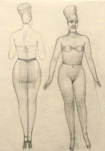 Alfons WALDE - Drawing-Watercolor - Leicht bekleidete Dame