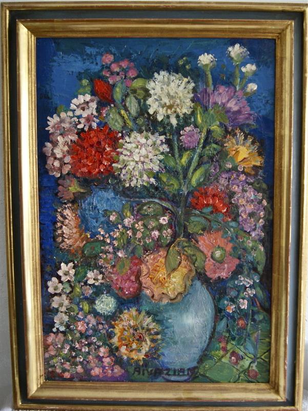 Pola AIVAZIAN-ROSSI - Pittura - Bouquet de fleurs dans un vase
