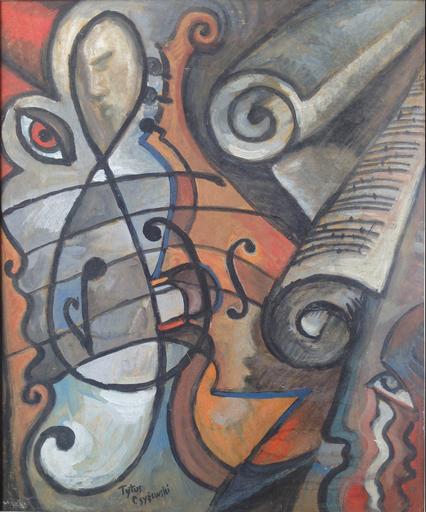 Tytus CZYZEWSKI - Pintura - Composition au violon et à la clé de sol