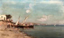 "Emile GODCHAUX - Pintura - ""Turkey - Felucca on the shore"" circa 1888-1889"