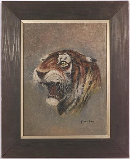 "Eduard WINKLER - Pintura - ""Tiger"", Oil Painting, 1940s"