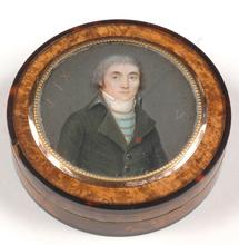 """Nicolas JACQUES - Miniatur - """"Portrait of a former émigré"""", box with miniature, 1802"""