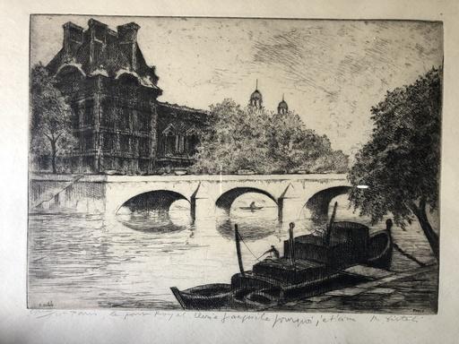 Reynold Oscar DISTELI - Dessin-Aquarelle - Paris le pont royal