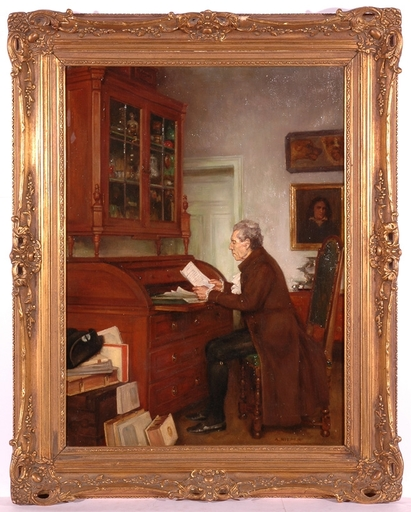 "August RIEPER - Peinture - ""The Archivist"", Oil Painting"