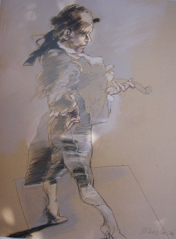 Claude WEISBUCH - Zeichnung Aquarell - Le luthier de Vèrone