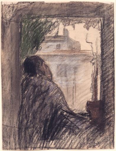 Joseph STELLA - Dessin-Aquarelle - Man Seated at a Window