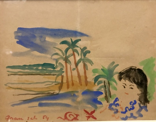 Emilio GRAU-SALA - Dibujo Acuarela - Young child in front of the sea