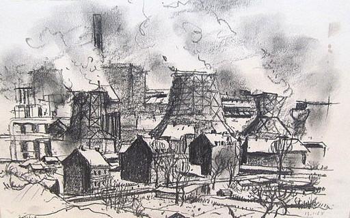 Friedrich EINHOFF - Drawing-Watercolor - #20023: Schalker Industrieanlage.