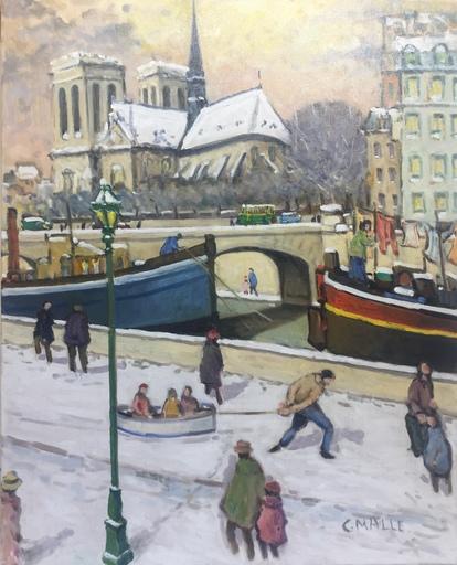 Charles MALLE - Peinture - Paris la lessive à Notre Dame