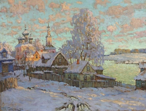 Konstantin Ivanovich GORBATOV, View of the Church of Boris and Gleb, Kostroma, Winter