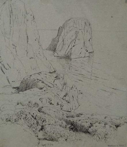 """Hans WILT - Drawing-Watercolor - """"Motif of Capri"""""""