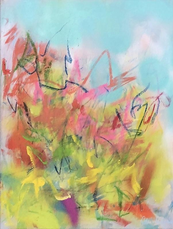 Nicole LEIDENFROST - Gemälde - Wiese mit hellblau