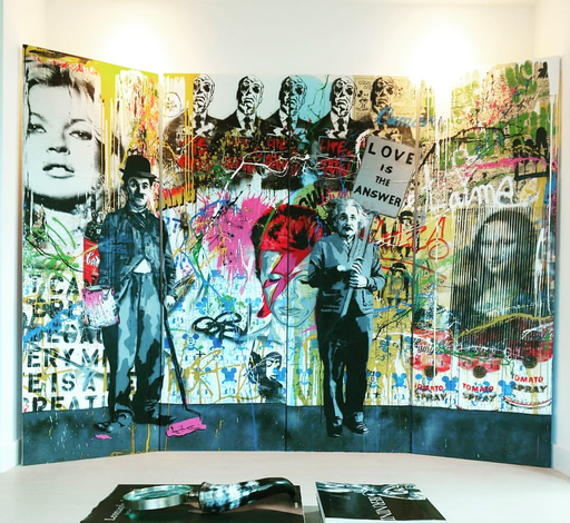 MR BRAINWASH - Painting - Juxtapose- Large 4 Panel