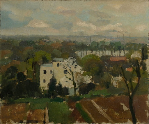 Bernard LAMOTTE - Gemälde - Paysage de banlieue