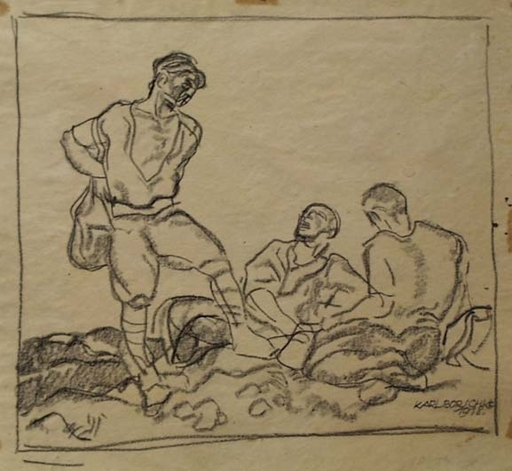 """Karl BORSCHKE - Zeichnung Aquarell - """"Drifters"""", 1918"""
