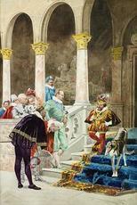 Eduardo ZAMACOIS Y ZABALA - Dibujo Acuarela - El Favorito del Rey