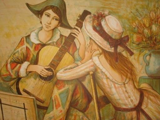 Jacques LALANDE - 版画 - Le jeune guitariste et sa compagne,1989.
