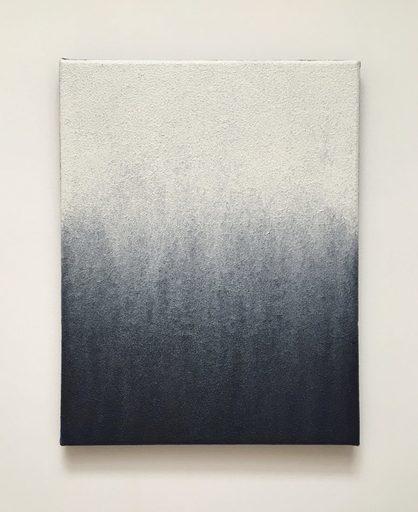 Guillaume COLUSSI - Painting - « Coulée de blanc sur petit rectangle bleu »