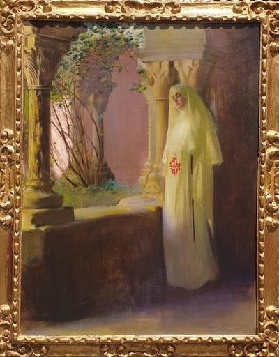 Ramón CASAS Y CARBO - Painting - meditando en el claustro