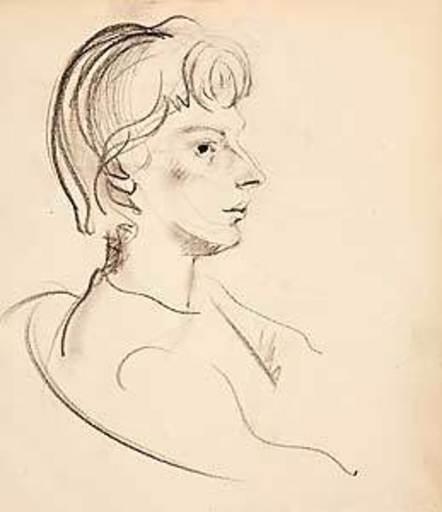 Joseph FLOCH - Dibujo Acuarela - Frauenporträt
